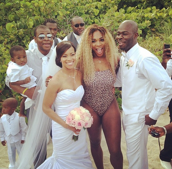 Serena Williams PHOTOBOMBS A Wedding On South Beach In Her LEOPARD Swimsuit!