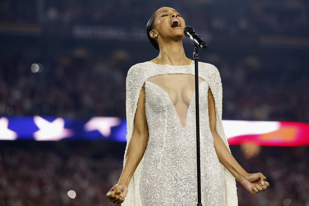 Some people are upset at the outfit Ciara wore to sing the national anthem for the College Football Playoff championship